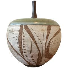 Joel Edwards Ceramic Pot with Custom Walnut Lid, California, 1960s