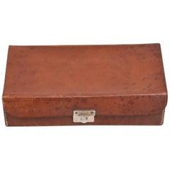 Mid-Century Modern Saddle Leather Box with Lock