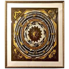 Framed Hermes Zodiac Scarf, circa 1970