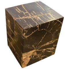 Andrianna Shamaris Square Petrified Wood Side Table