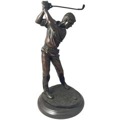 French Figural Bronze of a Golfer on a Marble Base