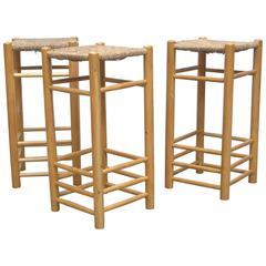 Set of Three Charlotte Perriand Inspired Bar Stools