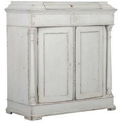 Antique 19th Century Light Gray Swedish Neoclassical Two-Door Cabinet