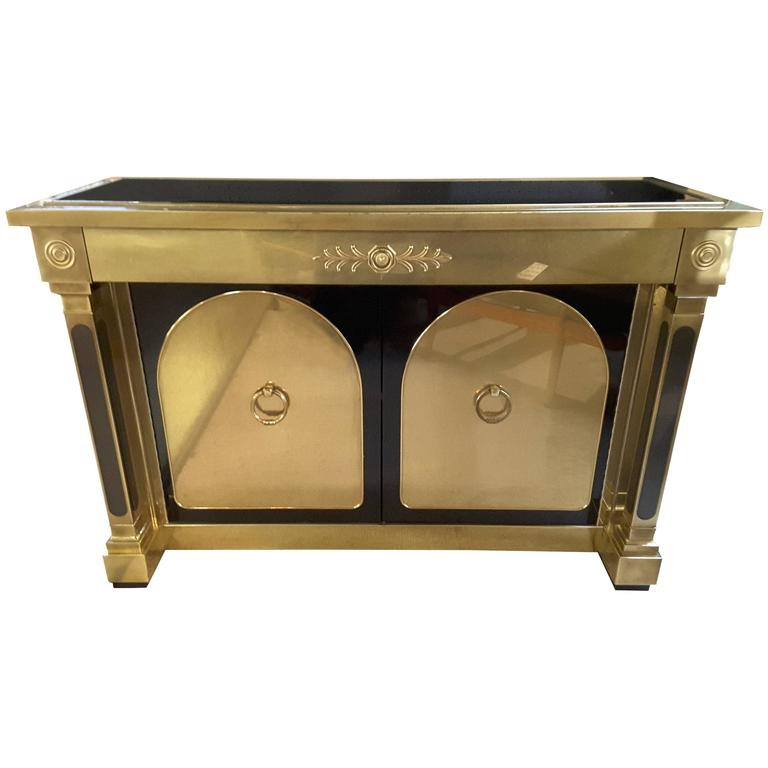 Exceptional Mastercraft Brass, Laminate and Glass Sideboard