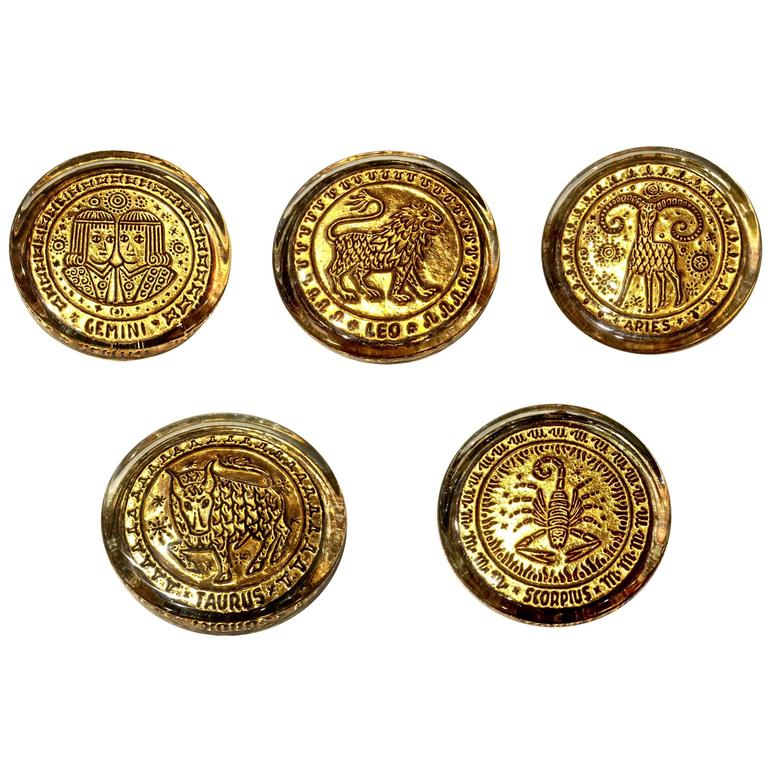 Mid-20th Century Venetian Zodiac Paperweights