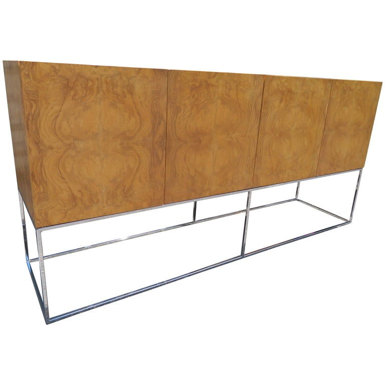 Dramatic Milo Baughman Burled Olive Wood Chrome Credenza Mid-Century Modern For Sale