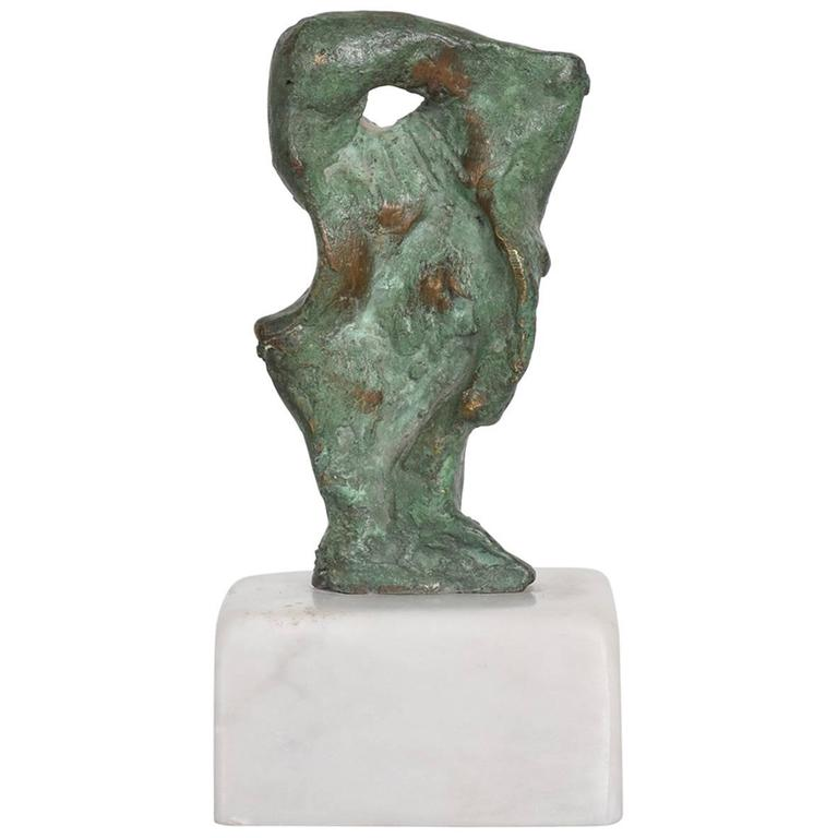 Mid-Century Modern Heriberto Juarez Abstract Bronze Sculpture with Marble Base