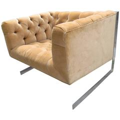 Milo Baughman Cantilever Chrome Tufted Cube Lounge Chair Mid-Century Modern