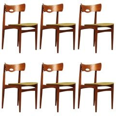 Rare Set of Six Danish Teak Chair by Bramin