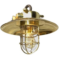 Mid-Late 20th Century Brass Explosion Proof Pendant Brass Shade and Glass Dome
