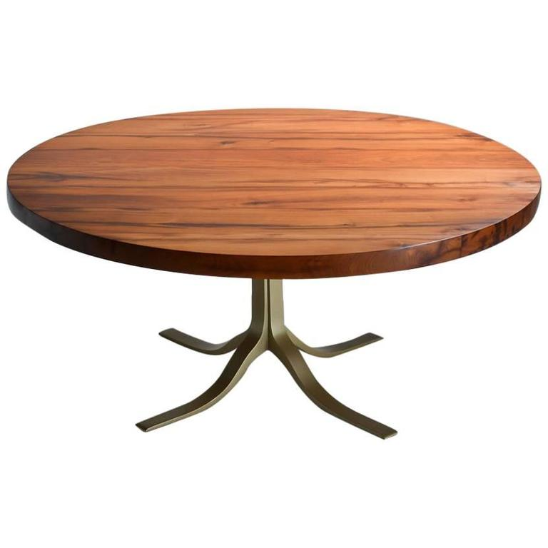 Bespoke Reclaimed Hardwood Round Table on Sand-Cast Brass Base, by P. Tendercool 1