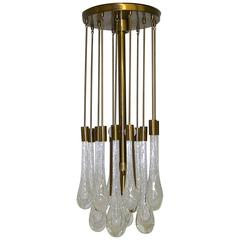 Brass and Controlled Bubble Glass Teardrop Flush Mount Chandelier