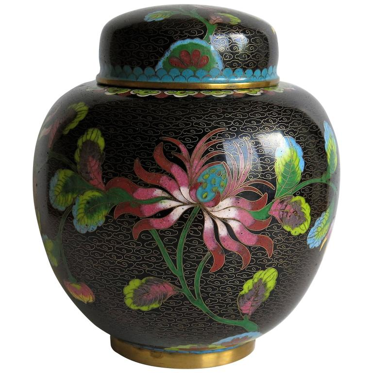 Chinese Cloisonné Lidded Jar Peony and Chrysanthemums, Qing circa 1880 For Sale