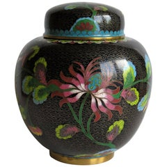 Chinese Cloisonné Lidded Jar Peony and Chrysanthemums, Qing circa 1880