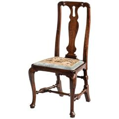 Queen Anne Period Walnut Single Chair of Elegant Shape