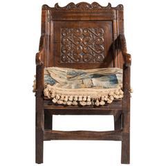 Charles II Style Oak Panelled Armchair
