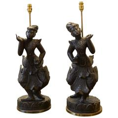 Pair of Wooden Burmese Table Lamps