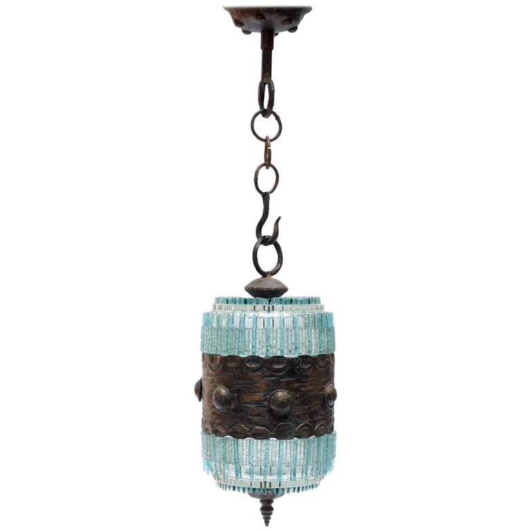 Poliarte Pendant Light, 1960s with Bronze Details