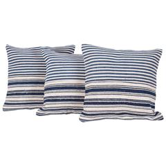 Indigo Cotton Jajim Pillows Made Out of a Early 20th Century North Persian Jajim