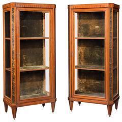 A Pair of late 19th Century French Satinwood Display Cabinets