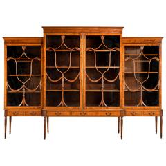 George III Period Mahogany Breakfront Bookcase