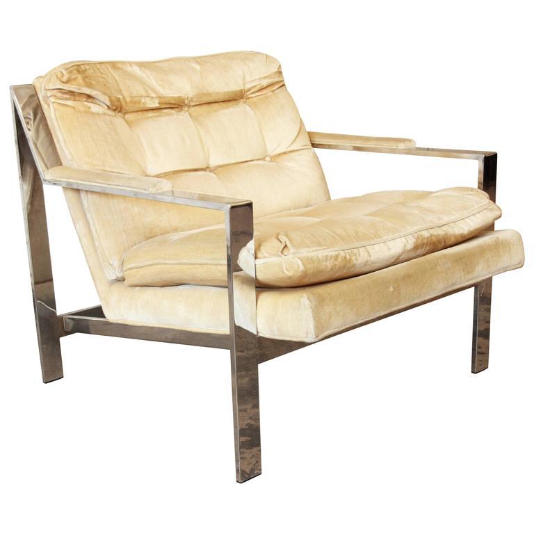 Milo Baughman Style Mid-Century Modern Chrome Club Lounge Chair by Cy Mann