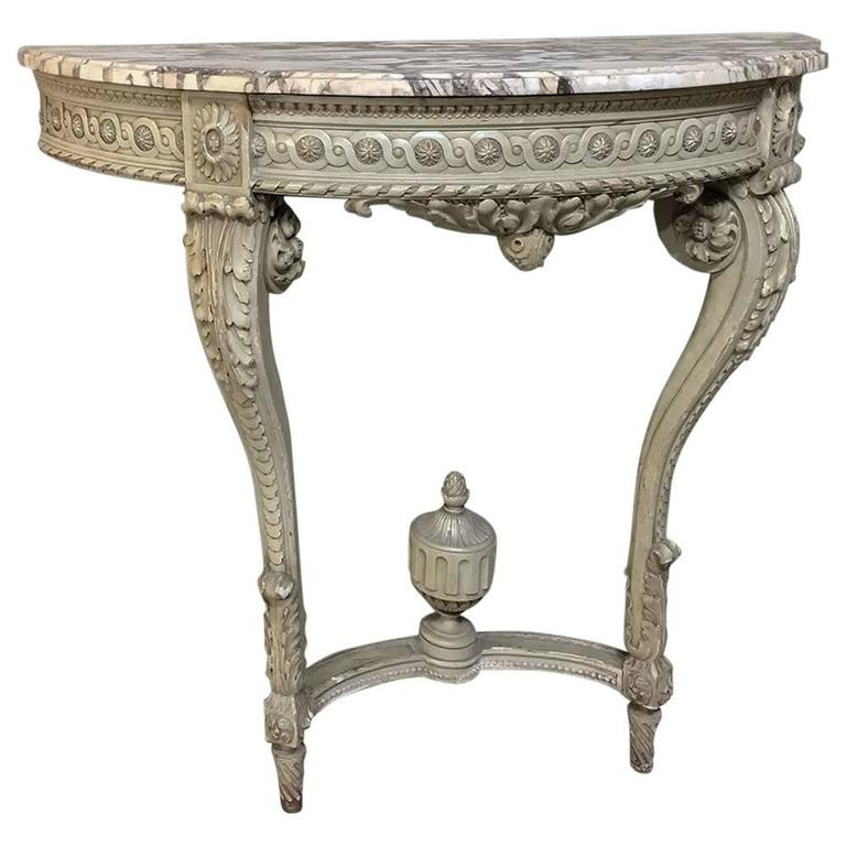 19th Century French Louis XVI Painted Demilune Marble-Top Console