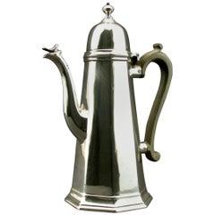 Very Good George I Style Sterling Silver Coffee Pot, Hallmarked Edinburgh 1909