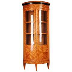 Elegant Corner Vitrine in Biedermeier Classicism Style