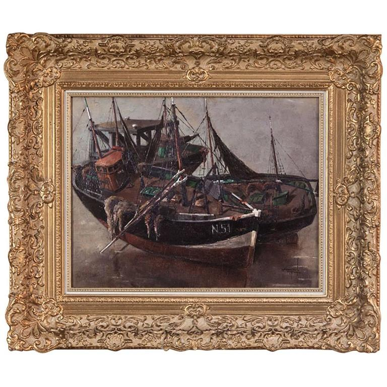 Antique Framed Oil Painting on Canvas by Isidor Saeys, circa 1940s