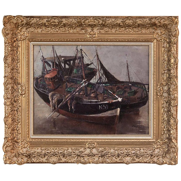 Antique Framed Oil Painting on Canvas by Isidor Saeys, circa 1940s For Sale