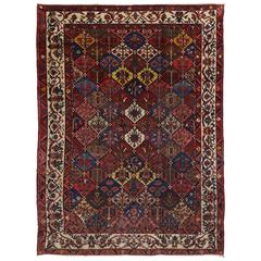 Antique Persian Bakhtiari Rug with Garden Design and Traditional Modern Style