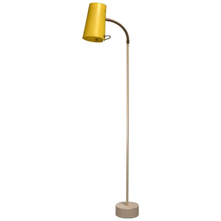 Attractive Scandinavian Modern Floor Lamp With Yellow Plexiglass Adjustable Shade,  1950s For Sale