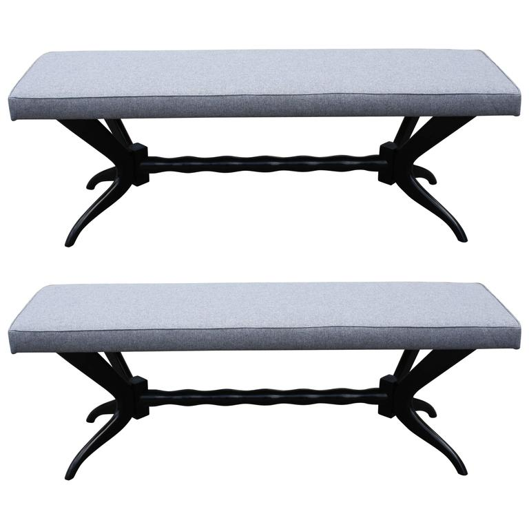 Pair of Black Lacquered Carved Base Benches from 1950s