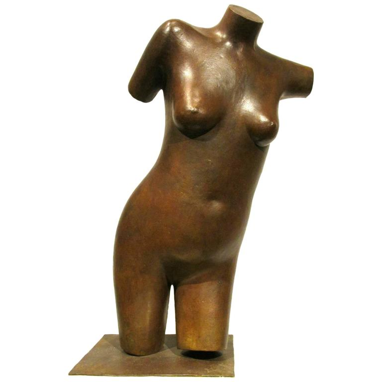 Post Modernist Nude Bronze Torso Sculpture by George Foster, SSC For Sale