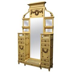 Antique French Provincial Dressing Tale/Stand, Cheval Mirror and Vitrines