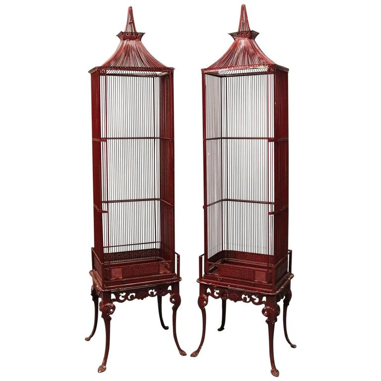 Pair of Vintage French Chinoiserie Pagoda Bird Cage Display Cabinets, circa 1940 1