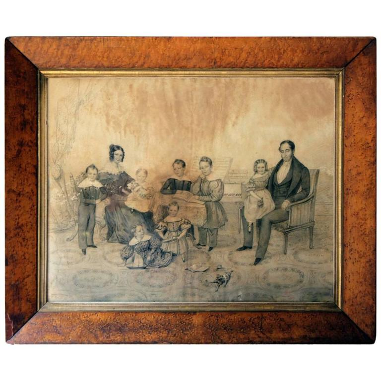 Good Pencil & Charcoal Family Portrait; The Family of Sir Jean de Veulle
