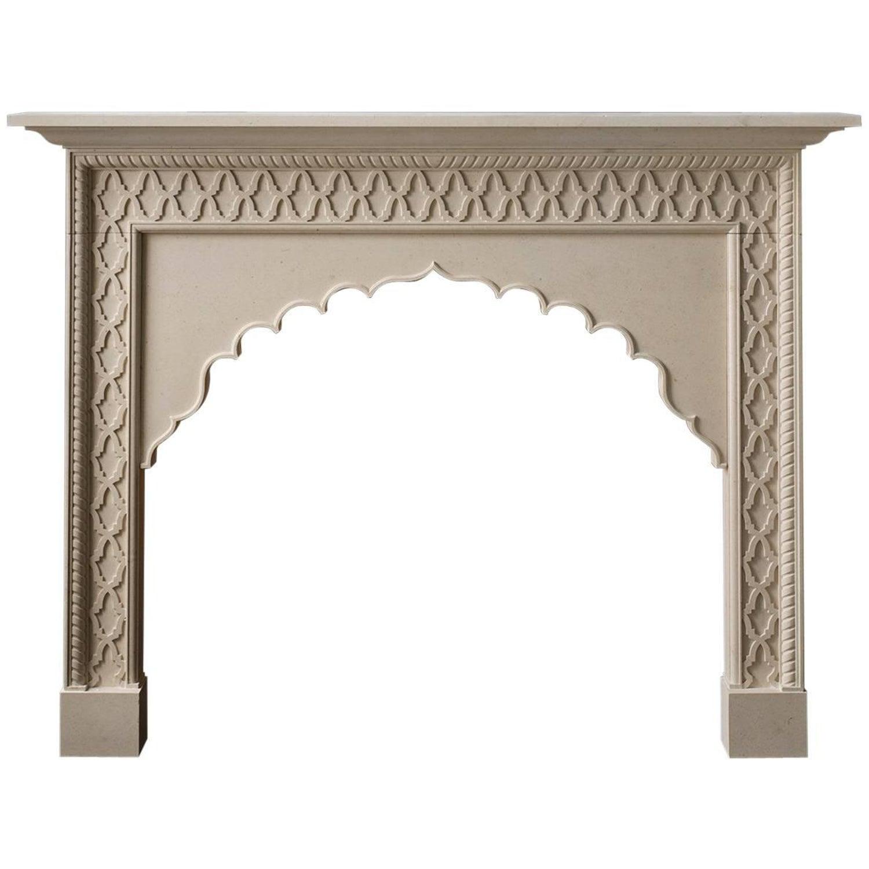21st century irish contemporary limestone fireplace black trim and