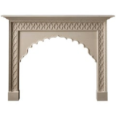 21st Century Reproduction Moroccan Mantel Carved in Limestone