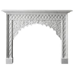 21st Century Reproduction Moroccan Mantel Carved in Marble