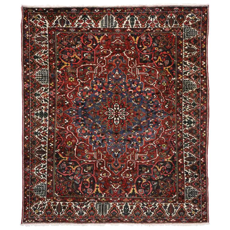 Antique Persian Bakhtiari Rug With Traditional Modern