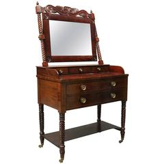 Antique Carved Flame Mahogany and Bronze Sheraton Mirrored Vanity, circa 1820