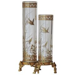 Maison Baccarat Japonisme Gilt Painted Crystal Double Vase with Ormolu Mount