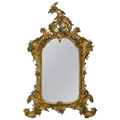 Rococo Style Giltwood and Silver Gilt Mirror, Possibly German, circa 1870