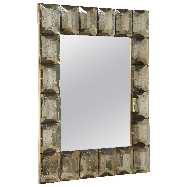 Contemporary Diamond Pattern Murano Smoked Glass Mirror, in Stock
