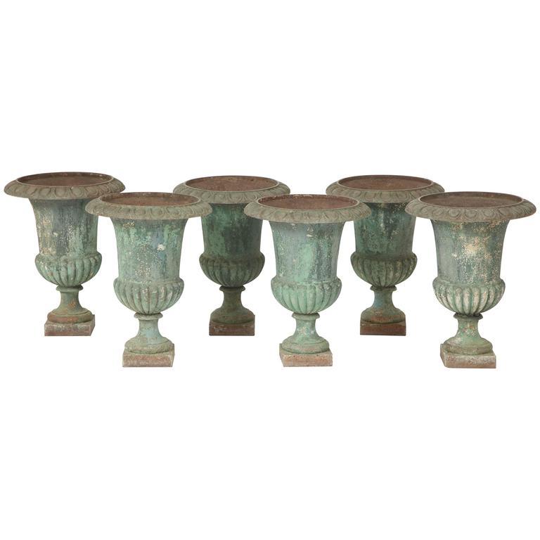 Rare Set of Six Cast Iron Garden Urns 1