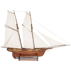 Model pond yacht of of a topsail schooner