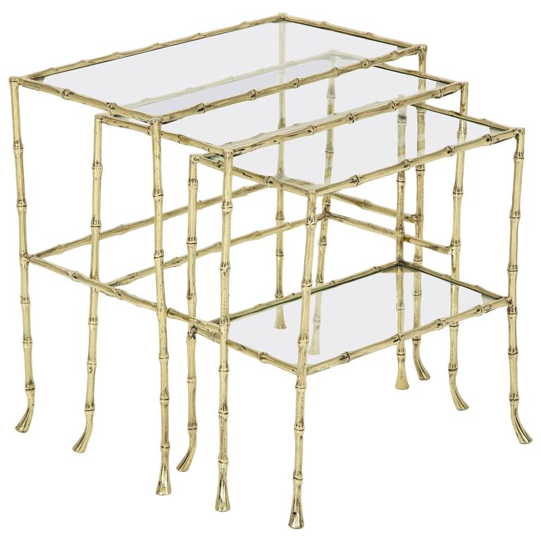 Set of Three Faux Bamboo Nesting Tables 1