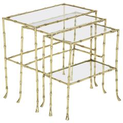 Set of Three Faux Bamboo Nesting Tables